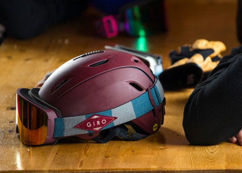 An action shot of the Giro Axis snow goggles