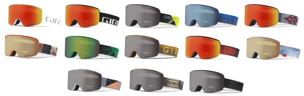 The many styles available of the Giro Axis snow goggles
