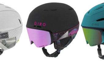 The Giro Ella goggles with matching snow helmets