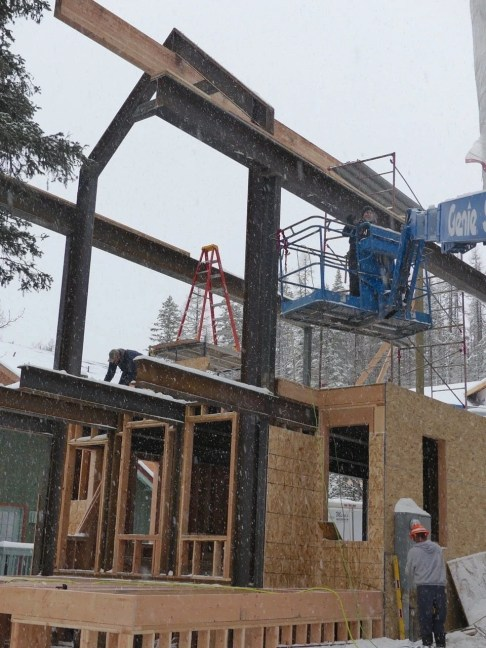 Cedar with the steel framing