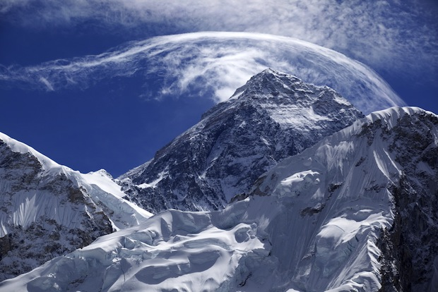 Everest with forming clouds