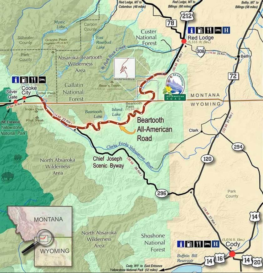 Beartooth Pass map.