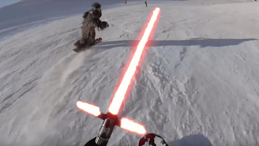 video, Star Wars, snow wars, Chewbacca, kylo ren,