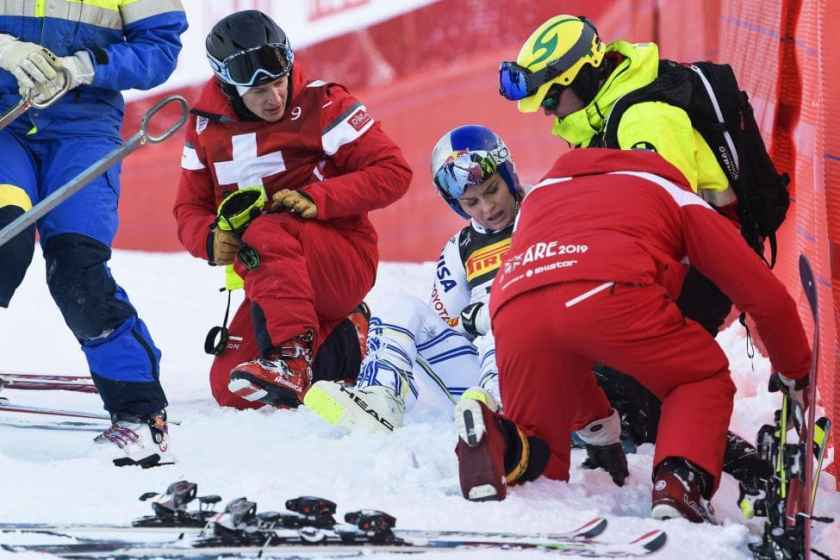 Lindsey Vonn crashed while racing in Sweden on Feb 5, 2019.