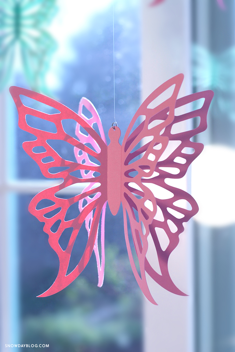 Pink Hanging Butterfly Vert