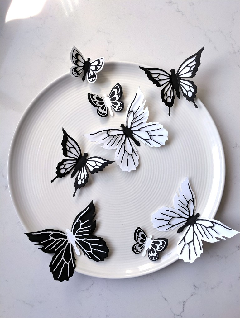 Black and White Prairie butterfly Stickers