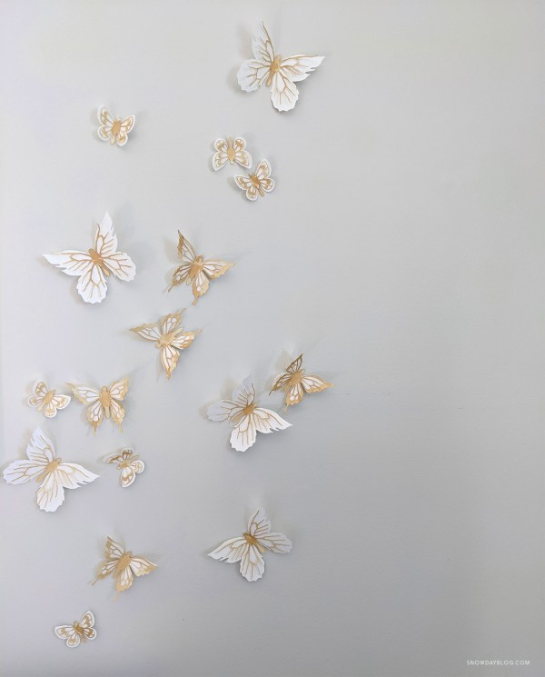tea stained butterfly stickers as wall art