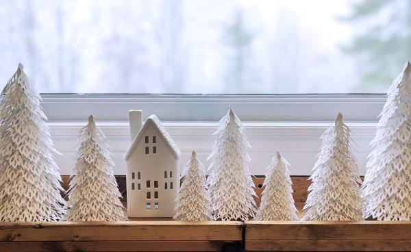 Woodland Christmas Trees, winter wonderland decor, paper trees, ceramic house