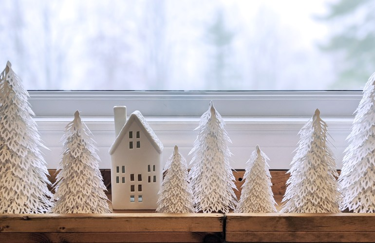 Woodland Christmas Trees, winter wonderland decor, paper trees, ceramic house