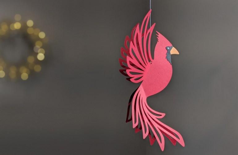 Cardinal decoration, hanging cardinal, paper cardinal