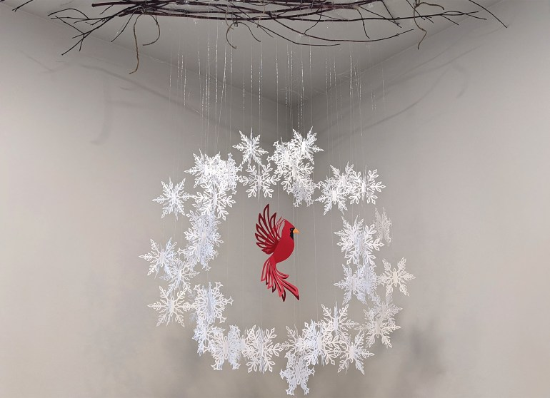 cardinal in snowflakes wreath, hanging cardinal and hanging wreath