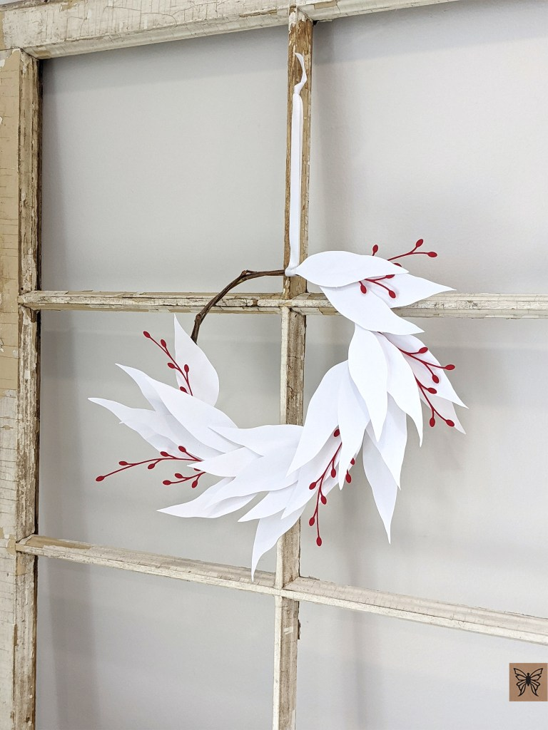 DIY Paper Willow Eucalyptus Wreath, paper wreath, willow eucalyptus wreath hanging on window frame