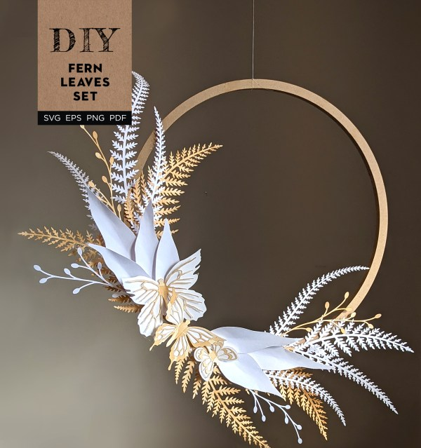 DIY Fern leaf wreath, paper ferns, paper wreath, paper leaves