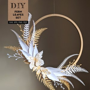DIY Fern leaf wreath, paper ferns, paper wreath, paper leaves