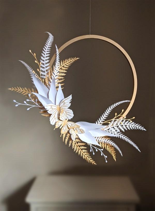 DIY paper fern wreath, fern svg, leaves svg, vector leaves