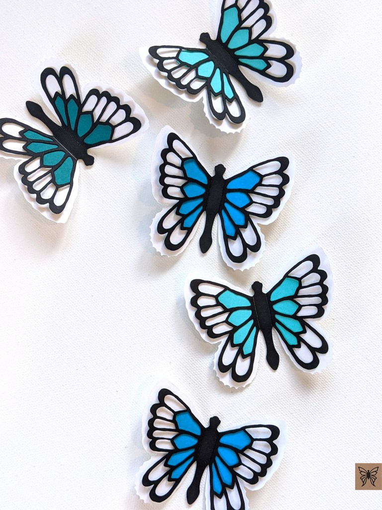 Abigail butterfly stickers in black and blue