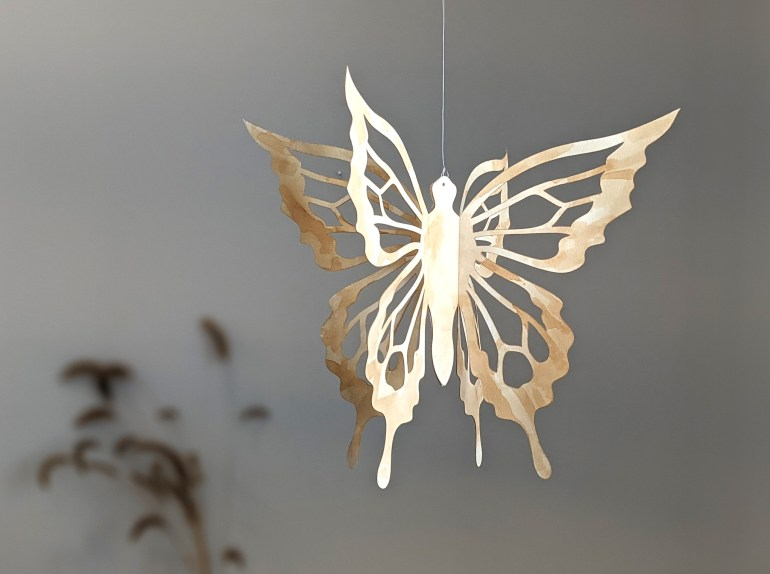 Hanging butterfly tea stained