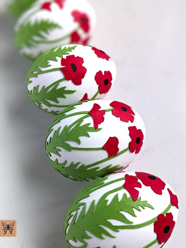 Easter Eggs decorated with poppies