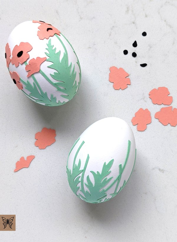 Egg decorating with Salmon poppies wrap