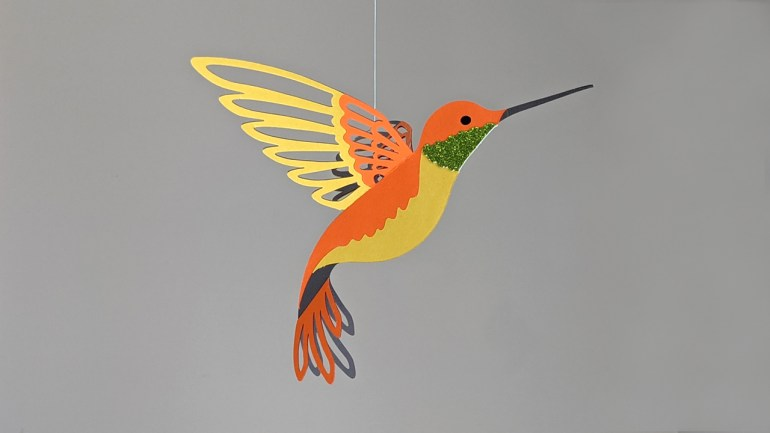 orange hummingbird decoration