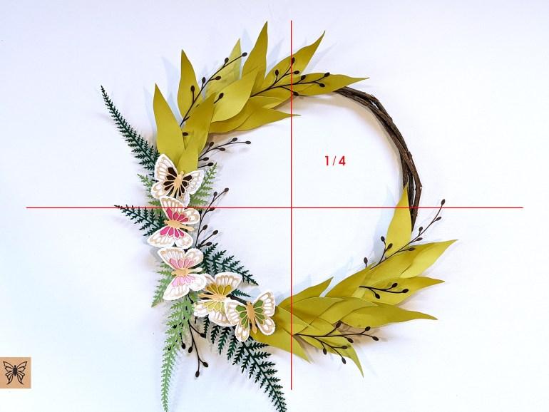 DIY Spring Wreath split in quarters
