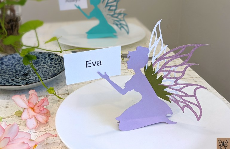 SVG place card fairy on party table