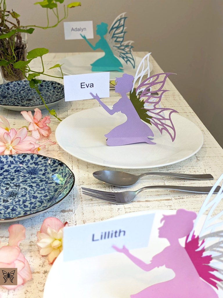 place card fairies on party table