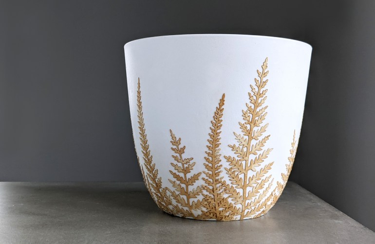decoupage planter with tea stained paper fern leaves