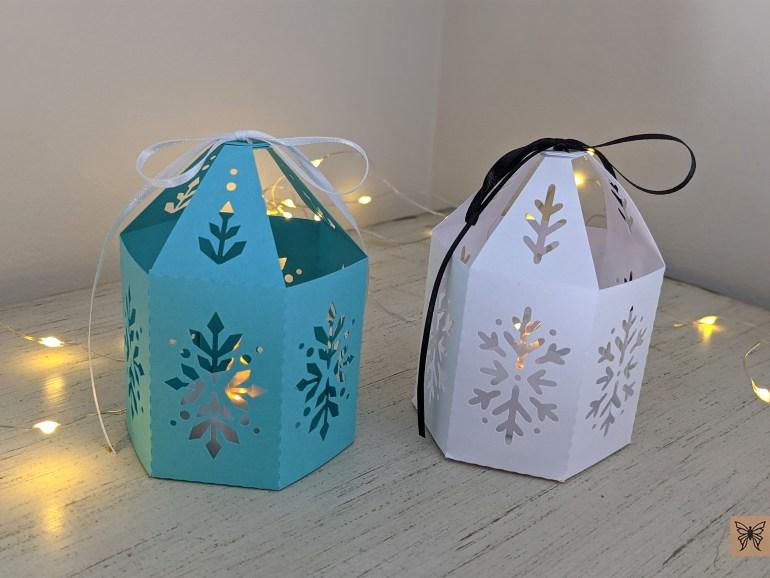 Blue and White Christmas paper lanterns DIY