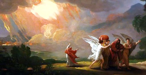 Lot Fleeing Sodom. Benjamin West. 1810.
