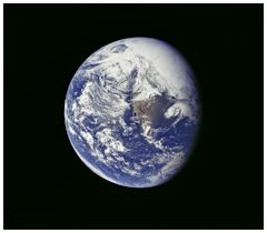 Planet Earth photographed by the Apollo Mission 16 crew about one and one-half hours after trans-lunar injection on April 16, 1972.