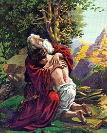 Abraham embraces Isaac. O.A. Stemler 1927.