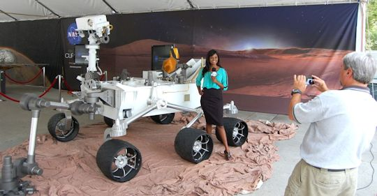 Model Rover poses for channel 7 news. Photo by Brad Snowder