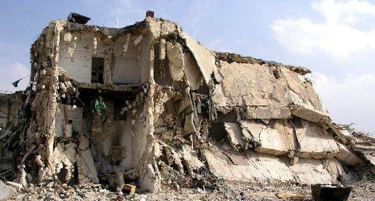 The Muqata, Ramallah, destroyed by Israeli bombs