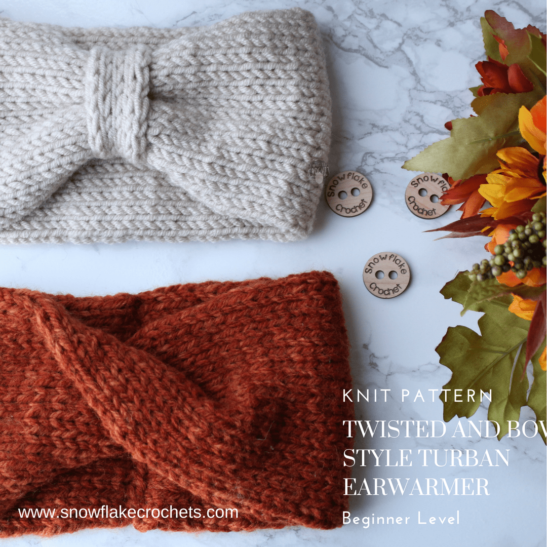 Knit Pattern Twisted And Bow Style Turban Earwarmer Snowflake