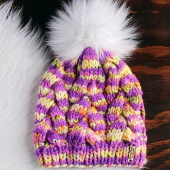 8196a293850e85 Knitted Cable Hat with Faux Fur Pom Pom - Snowflake Crochet