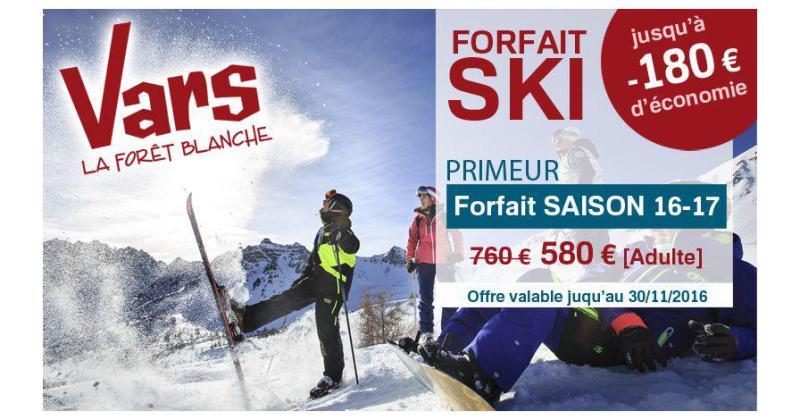 Forfait ski primeur à Vars: valable jusqu'au 30/11/2016