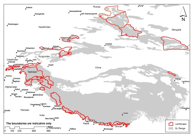 A map of the 23 landscapes identified by the snow leopard range countries as key habitats to be secured for the cats.
