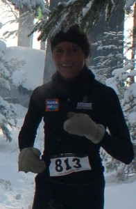 Jennifer Chaudoir demonstrates with a win at Minocqua, Wisc, the benefits of good nutrition and snowshoeing fun