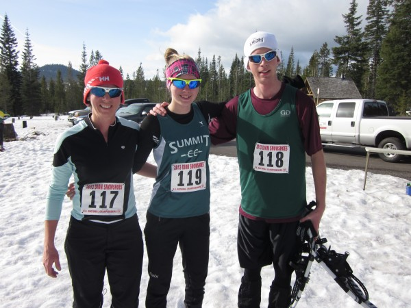 McKenna Ramsay from Dillon, Colorado (center) came in first in the junior 5K race.  She took first last year in the 14 and under junior age group. Also competing in the 5K were her mother Leslie and her brother Logan.