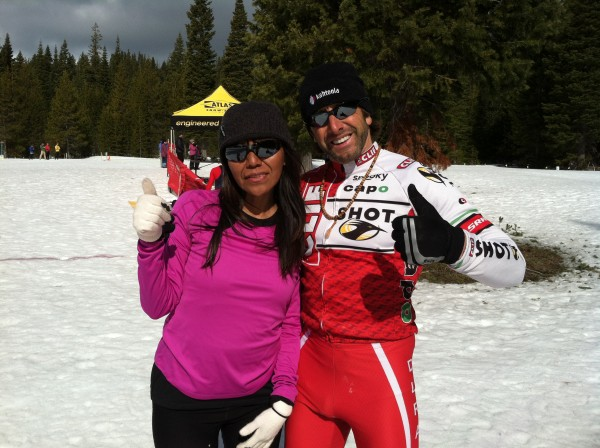 Sandra Lee and her Coach Steve Ilg of Durango, Colorado, are keeping loose before the start of the women's race.  Lee wanted to participate to help raise awareness among her fellow Native Americans of the importance of lifelong fitness and health.  By her example, she desires to help prevent the rising incidence of diabetes and obesity among native peoples, including the Navajos in Colorado.