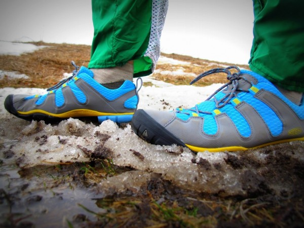 My new, cute shoes before embarking on a snowy and muddy orienteering course