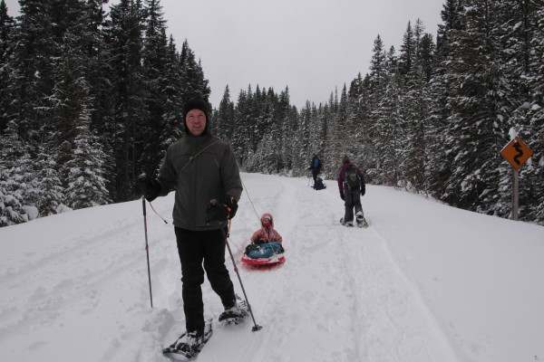 Snowshoeing the Cameron Lake Road