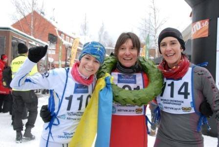 Isabella Morlini, Center, celebrates her 2nd championships with second place Petra Kindlund (L) and bronze winner, Mavi Gil Rafart