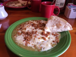 Hot and gooey Huevos Rancheros at Nora's Fish Creek Inn.
