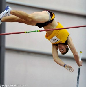 Jack Szmanda (photo) and Leslie Brost become 1st TCTC athletes to compete in field events: pole vault. Szmanda also raced 60m hurdles and shot.