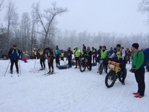 Brandon Purdue On The Start (Far Right w Bottle) Before Setting CR 75-Mile Run. 3 Ski Entrants Far Left