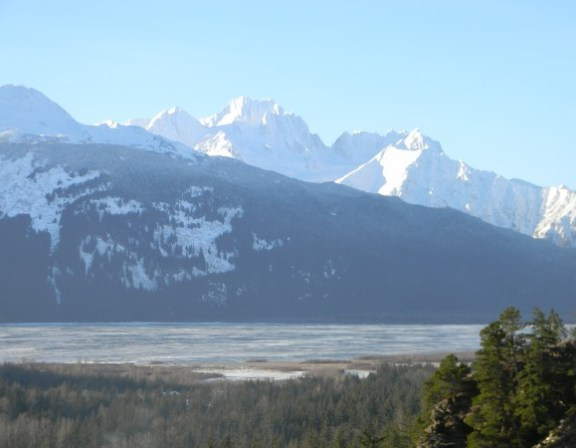 View of Chilkat River Valley and Cathedral Peaks