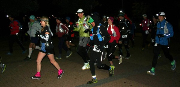 And the 100K runners are off for their last encounter with the Gnarly Bandit this year (Photo by Paige Reeves)