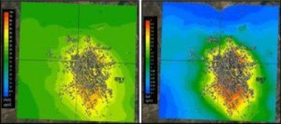 mappe delle concentrazioni medie di PM10 (a sinistra) e di BaP (a destra)